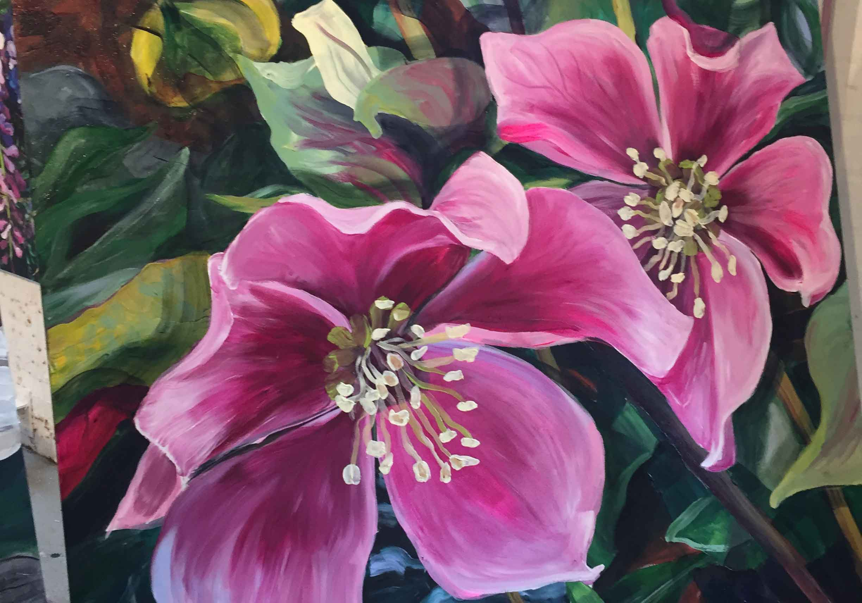 A floral painting after Shani Alexander workshop.